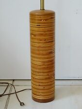 CHIC 60s MID CENTURY MODERN MARTZ ERA  ROUND STACKED WOOD TABLE LAMP
