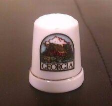 Georgia Farm Land Gold Band Porcelain Thimble EUC
