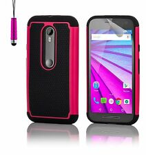 Dual Layer Shockproof Case Cover for Motorola Phones + Screen Protector & Stylus