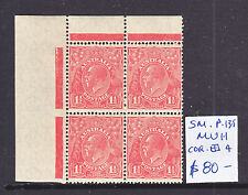 KGV 1 1/2d RED SM WMK PERF 13.5 CORNER BLOCK OF 4  SUPERB ***MUH***.