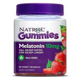 Natrol Melatonin 10 Mg Strawberry Flavor - 90ct Gummies Drug-Free