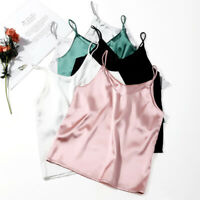 Fashion Women Silk Satin Plain Sleeveless Strappy Cami Camisole Vest Tank Top