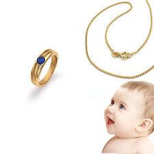 Baby Taufe Safir Taufring Weiß Gold 585 14 Kt mit Kette Silber 925 rhodiniert