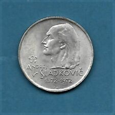 1972 CZECHOSLOVAKIA 20 KORUN ANDREJ SLADKOVIC  SILVER COIN KM#76 UNC