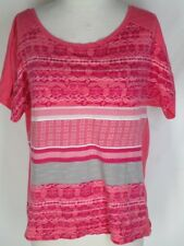 Lole Organic Cotton Knit Shirt Top L Coral White BLue Laced Back