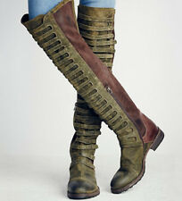 Womens Suede Over Knee High Boots Gladiator Pull On CHIC Motocycle Cowboy Boots