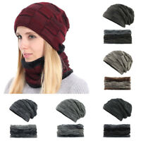 Women Men Knitted Hat With Scarf Winter Beanie Beret Baggy Warm Thicken Caps Ski