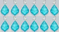 12 CHANDELIER CUT GLASS CRYSTALS LEAF DROPS TURQUOISE AQUA WEDDING PRISM BEADS