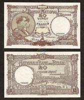 BELGIUM 20 Francs 1945 P-111 Nationale Bank Van Belgie UNC Uncirculated
