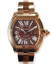 Cartier Roadster Watch Solid Rose Gold Walnut Burl Wood Dial and Links W62006001