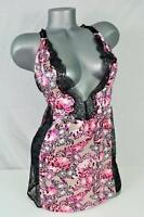 Victoria's Secret Sexy Strappy Babydoll Slip Butterfly Satin Lace Small $52 NEW