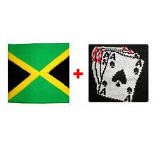 Coppia polsini jamaica + carte da gioco in spugna gruppi rock e bandiere