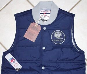 NEW Dallas Cowboys MITCHELL & NESS Play Clock Vest Mens S M Navy Blue