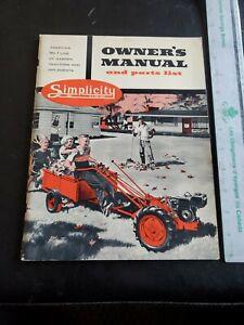 Original Simplicity Garden Tiller Tractor Mower Plow Blower Owner's Man Allis WD