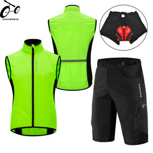 Mens Cycling Kit Sleeveless Vest Padded Shorts Baggy Pants Breathable Quick Dry