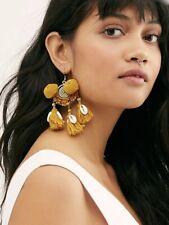 Free People X Serafina Hanging Earrings Gold Tassel Pom Pom Bead Shell Hook NWT