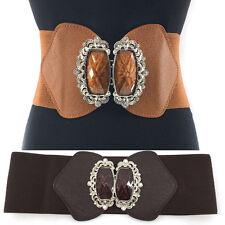 WOMEN ELASTIC PU Leather WAIST WIDE BELT Stretch Western Fashion Metal Bowknot