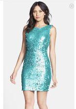 Dress the Population KIM Sequin mini dress Aqua Medium NWOT$184