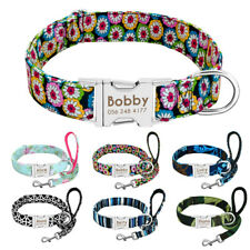 Floral Personalised Dog Collar and Lead set Custom Pet ID Nameplate Engraved S-L
