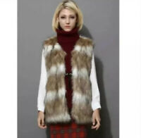Chicwish Faux Fur Vest in Striped Camel - Size Small (US 4)