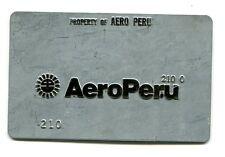 Vintage Airline Ticket Validation Metal Plate AERO PERU AIRLINES travel agent