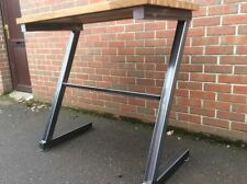HANDMADE TO ORDER CHUNKY STEEL BREAKFAST BAR PUB TABLE FOOD SAFE OAK TOP