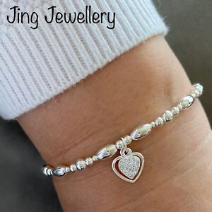 Heart Sterling Silver Beaded Stretch Stacking Bracelet,  Double Heart Charms 925