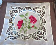 1910 Antique Small Linen Battenburg Lace & Silk Embroidered Table Topper 20 x 21