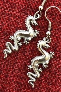 Dragon Earrings Game of Thrones Drakkar Myth Medieval Welsh Celtic Pewter