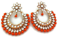 Indian Gold Plated Ethnic Orange Beads Kundan Chand Bali Earrings Set Jewelry