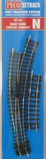 Peco N Scale Code 80 SETrack Insulfrog Right Hand Curved Turnout ST-44