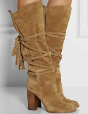 $930 Michael Kors Collection Jessa Suede Knee Boot TASSEL STRAP CAMEL 37.5 (W21)