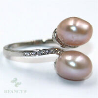 11-12mm Natural Pink Baroque Pearl Silver ring Adjustable Luxury Flawless Women