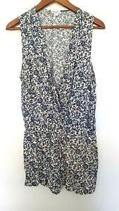 SPLENDID Ladies Designer White/Blue Floral Sleeveless Romper size M EUC