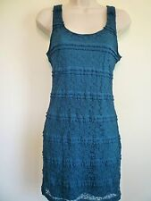 Womens L 12 14 teal blue lace lined body con stretch clubwear homecoming dress