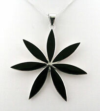 Large Sterling Silver Black Onyx Flower Pendant by Poco Loco with Silver Chain