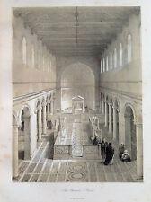 S. CLEMENTE ROMA The Ecclesiastical Architecture of  ITALY - litografia 1842
