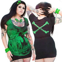 skull dress/black with green skull by Kreepsville 666, alternative, Gothic wear
