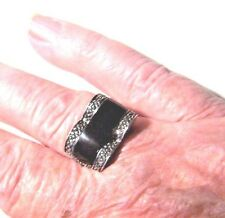 STERLING SILVER NICE LADIES/GIRLS BLACK ONYX AND MARCASITE FILAGREE RING SIZE 8