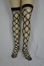 Multi fence net thigh high stockings plus size-Black