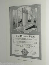 1920 Rock of Ages advertisement, WWI Soldiers Memorial, granite monument