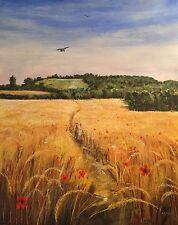 David Aldus ORIGINALE estate amore nell' Corn Poppies paese Papavero pittura ad olio