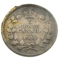 1905 Canada 5 Cents Small Silver Circulated Edward VII Five Cents Coin P425