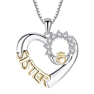 Silberkette Gold Schwester Herzförmige Anhänger Halskette Frauen Schmuck Gesc*.