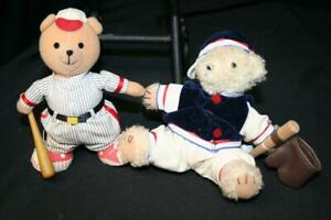 Lot Of 2 Baseball Mini Teddy Bears - Excellent Condition
