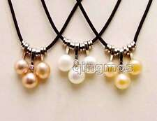 wholesale 3pcs AAA pearl Pendants and leather necklace
