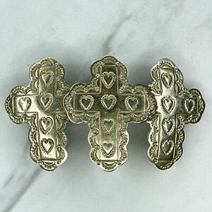 Mexico Silver Heart Engraved Triple Cross Hair Barrette Clip
