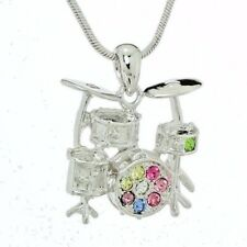 DRUM SET PENDANT MADE WITH SWAROVSKI CRYSTAL DRUMS MUSIC MULTI COLOR NECKLACE