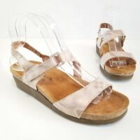 Naot Womens Slingback Sandals Snake Print Metallic Leather Wedge Shoes Size 39 8