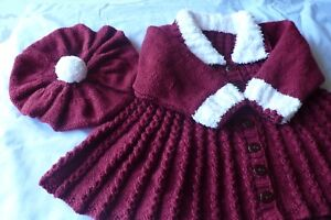 Baby Knitting pattern in DK, Winter Coat + Beret Matinee, Girls. baby cardigan .